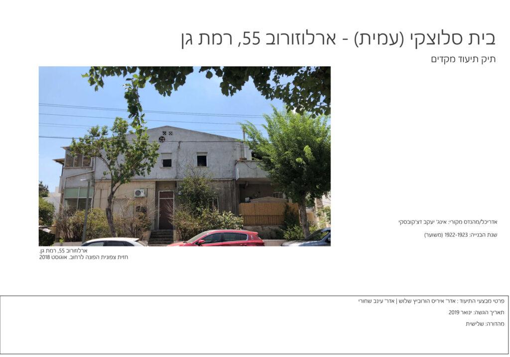 אדריכלות שימור, שער תיק תיעוד-בית סלוצקי, ארלוזורוב- רמת גן
